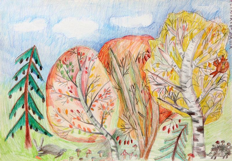Картинка про осень карандашом