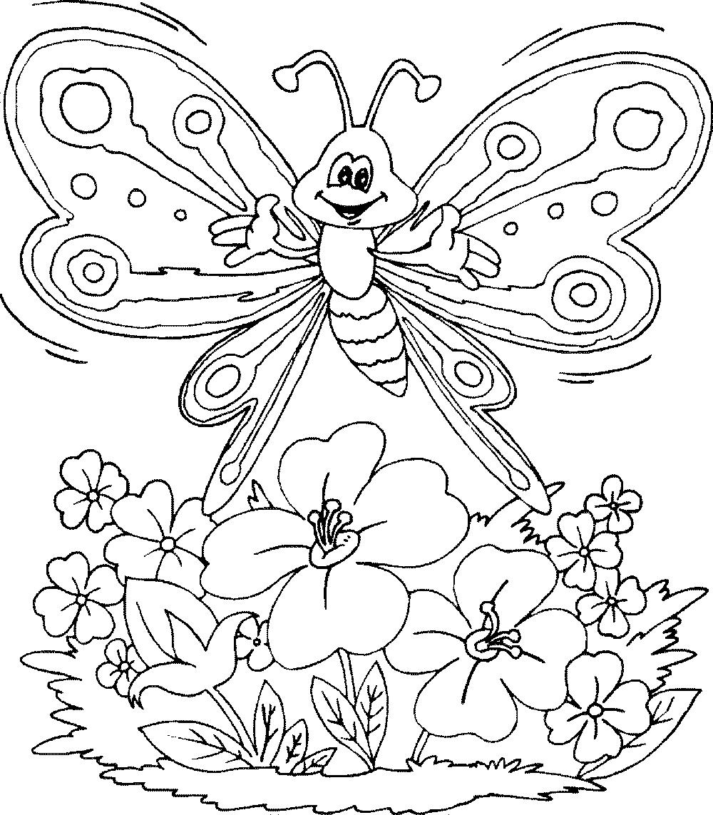 Картинки раскраски бабочки с цветами