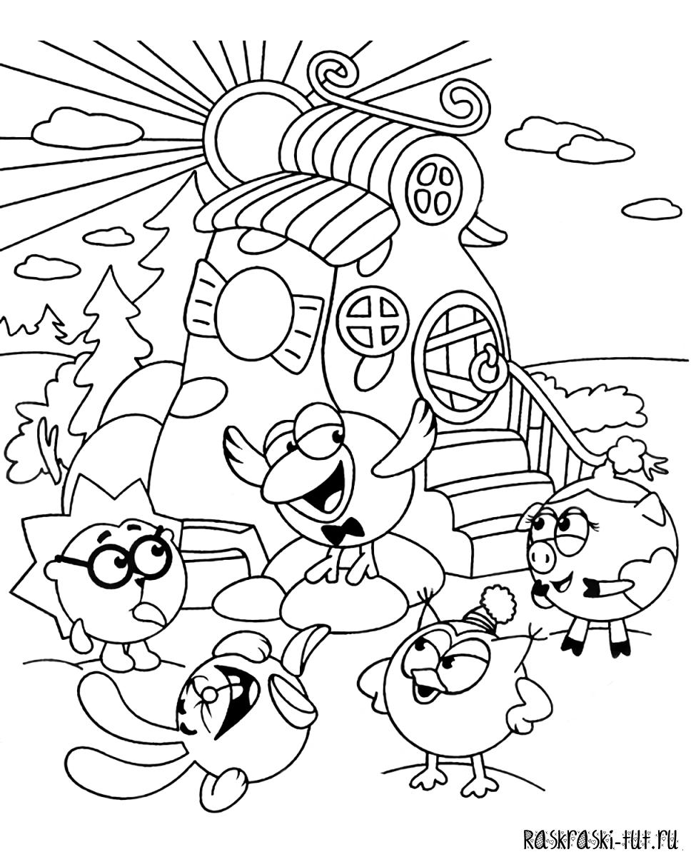 Картинки раскраски смешарики для малышей