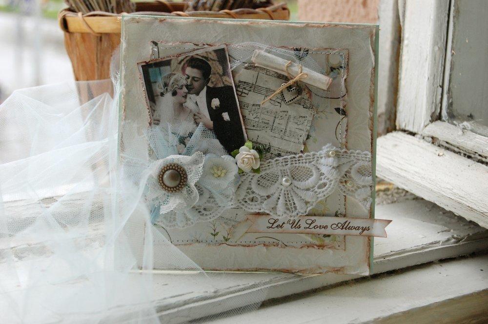 Свадебная открытка скрап с фото, рисунки