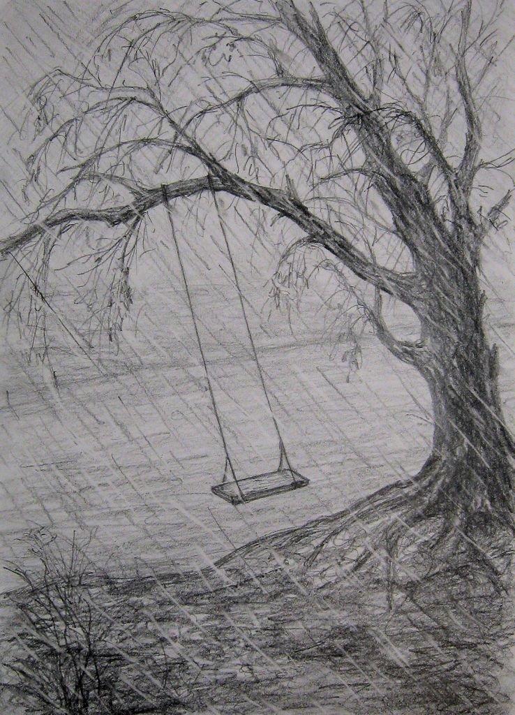 рисунок осень дождь карандашом постараемся