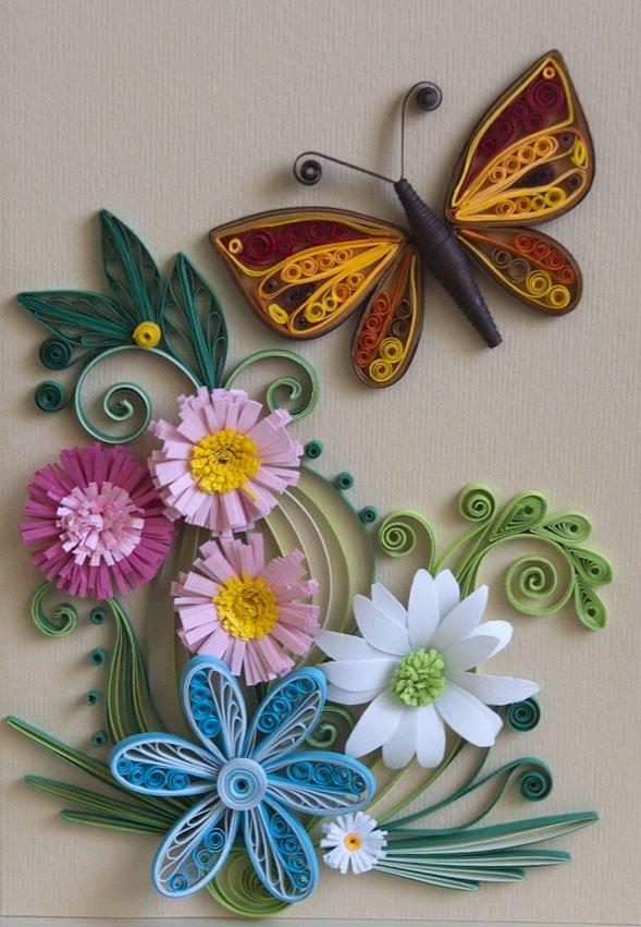 Мне, открытка из квиллинга бабочку