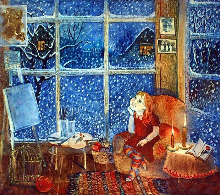 Открытки зимний вечер у окна, картинки про