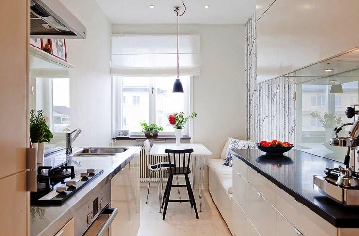 Идеи для узкой кухни с окном
