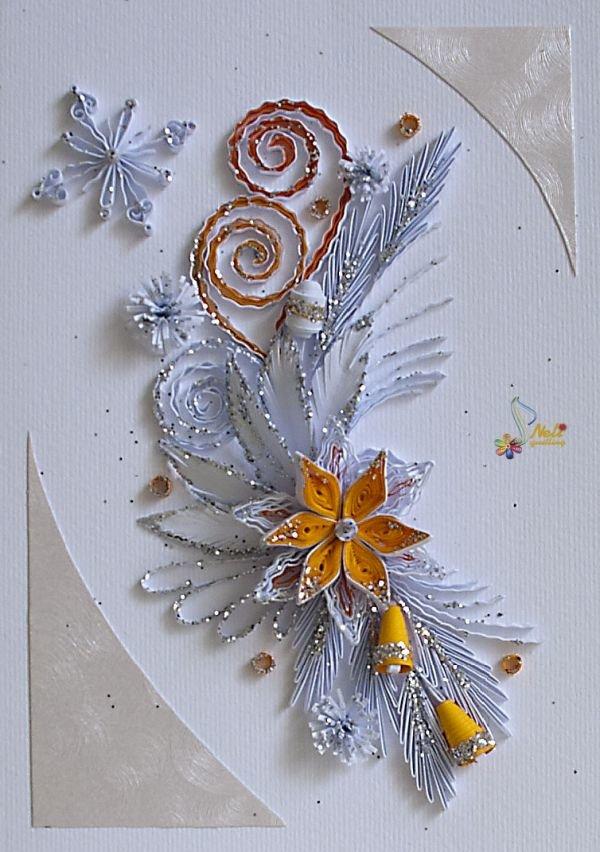 Открытки с новым годом с стиле квиллинг, открытки днем
