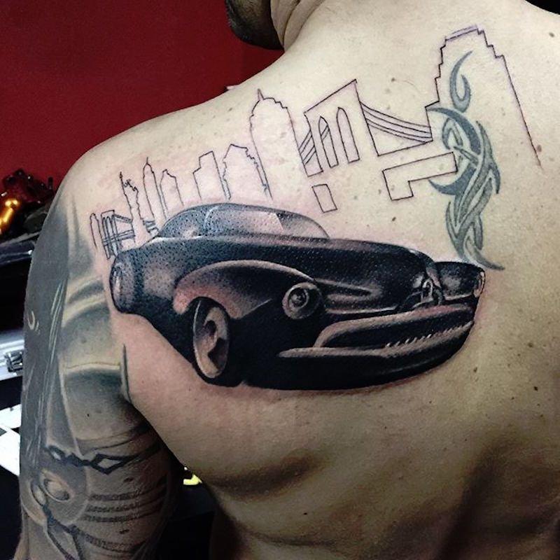 картинки татуировок с машинами либо темная однотонная