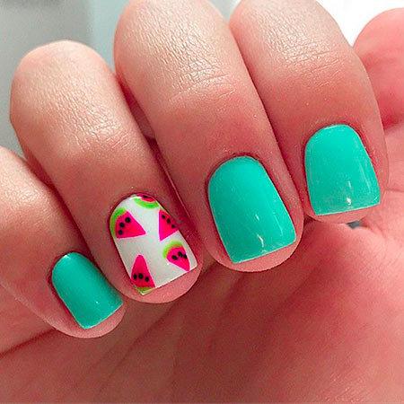 Маникюр арбуз : фото дизайна ногтей, как рисовать на коротких ногтях