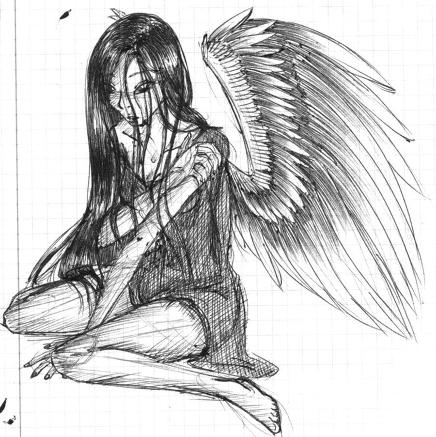 Картинки рисунков карандашом ангел