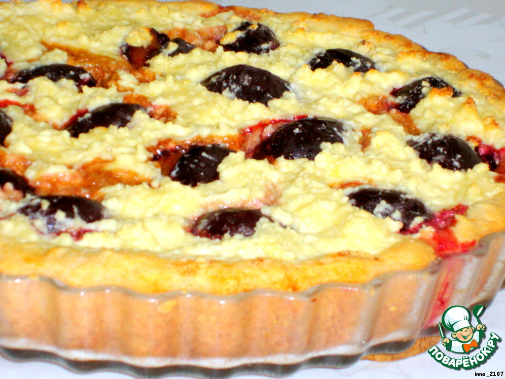 пирог с творогом и сливами рецепт с фото