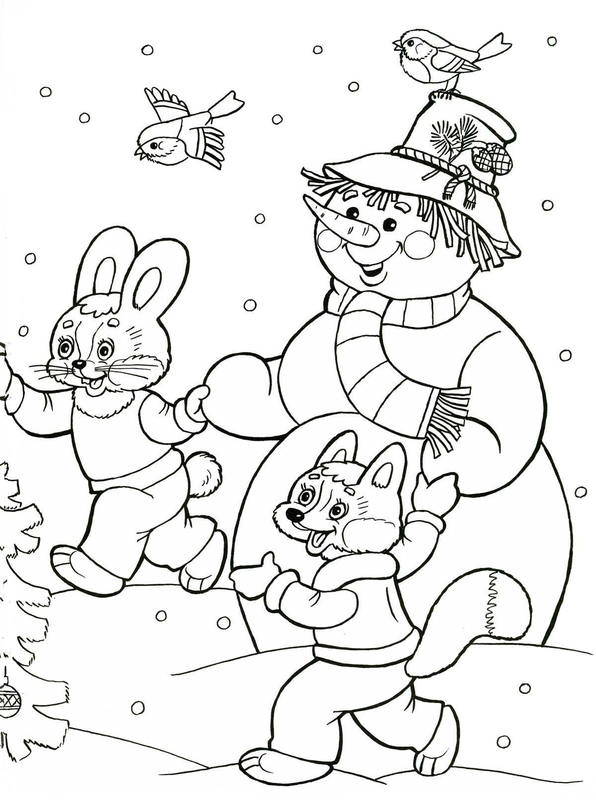 Картинка для раскраски на тему зима