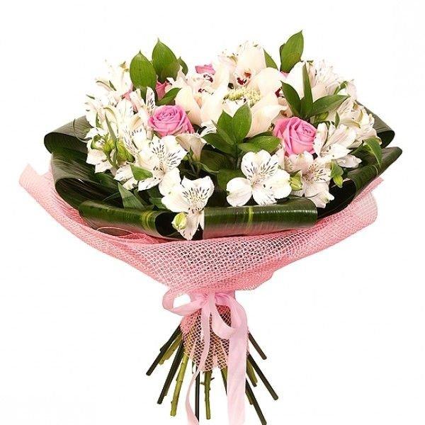 Свадебный букет, небольшой букет из орхидей и роз фото