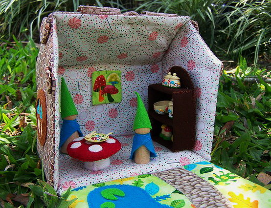 Открытка домик своими руками из ткани для детей и игрушки внутри, игривые для женщин