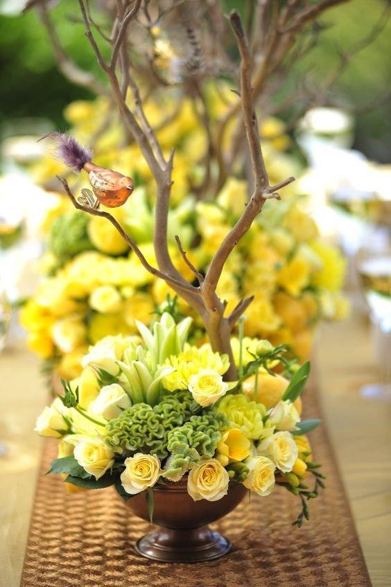 Флористика желтый цвет букета