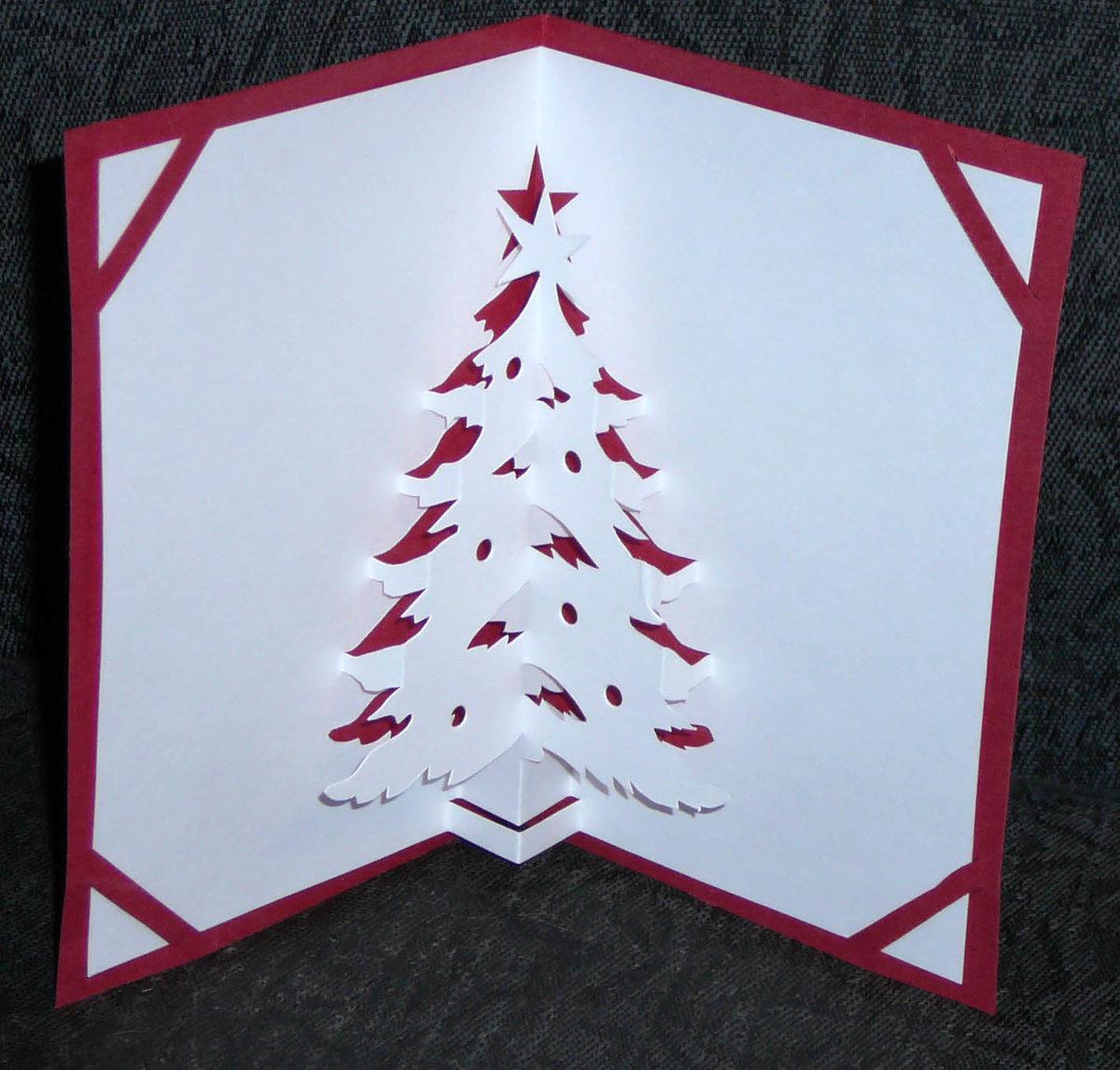 Кожаную свадьбу, открытка с объемной елочкой внутри пошагово