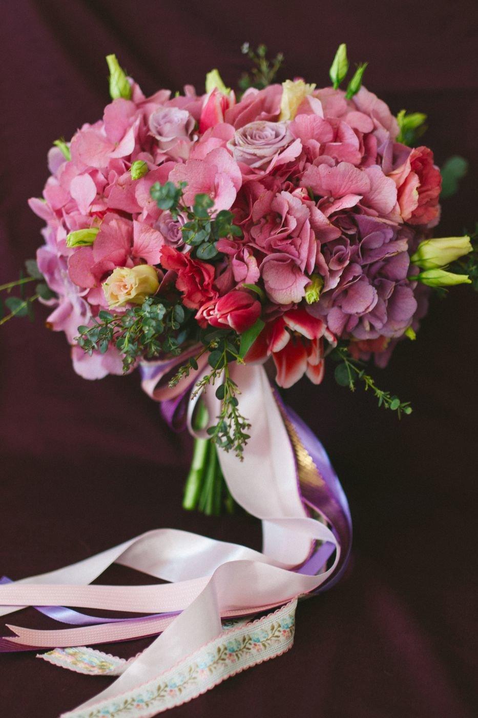 Гортензия с орхидеей свадебный букет цена