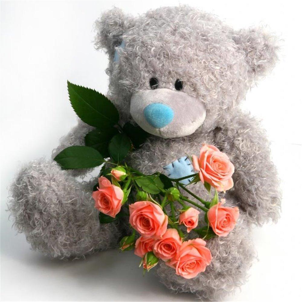 Картинки медвежонок с букетом цветов