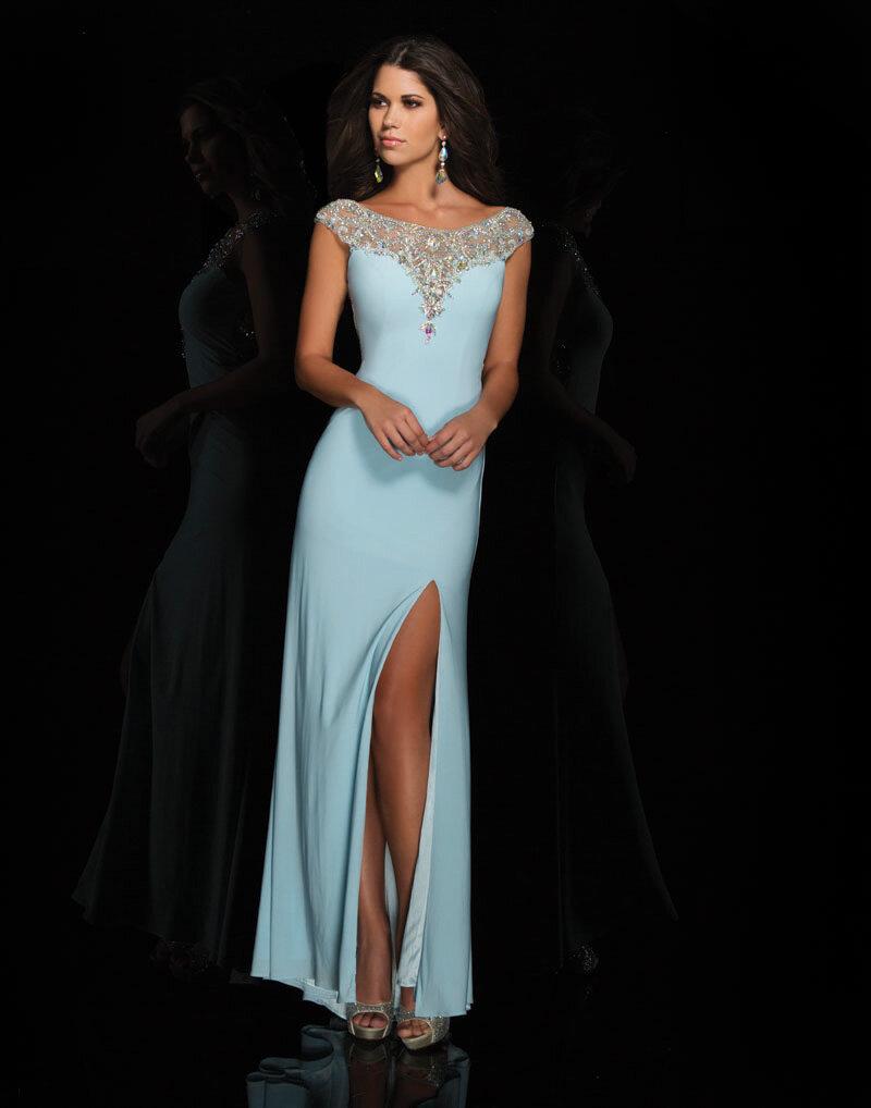 Дизайнерское голубое платье