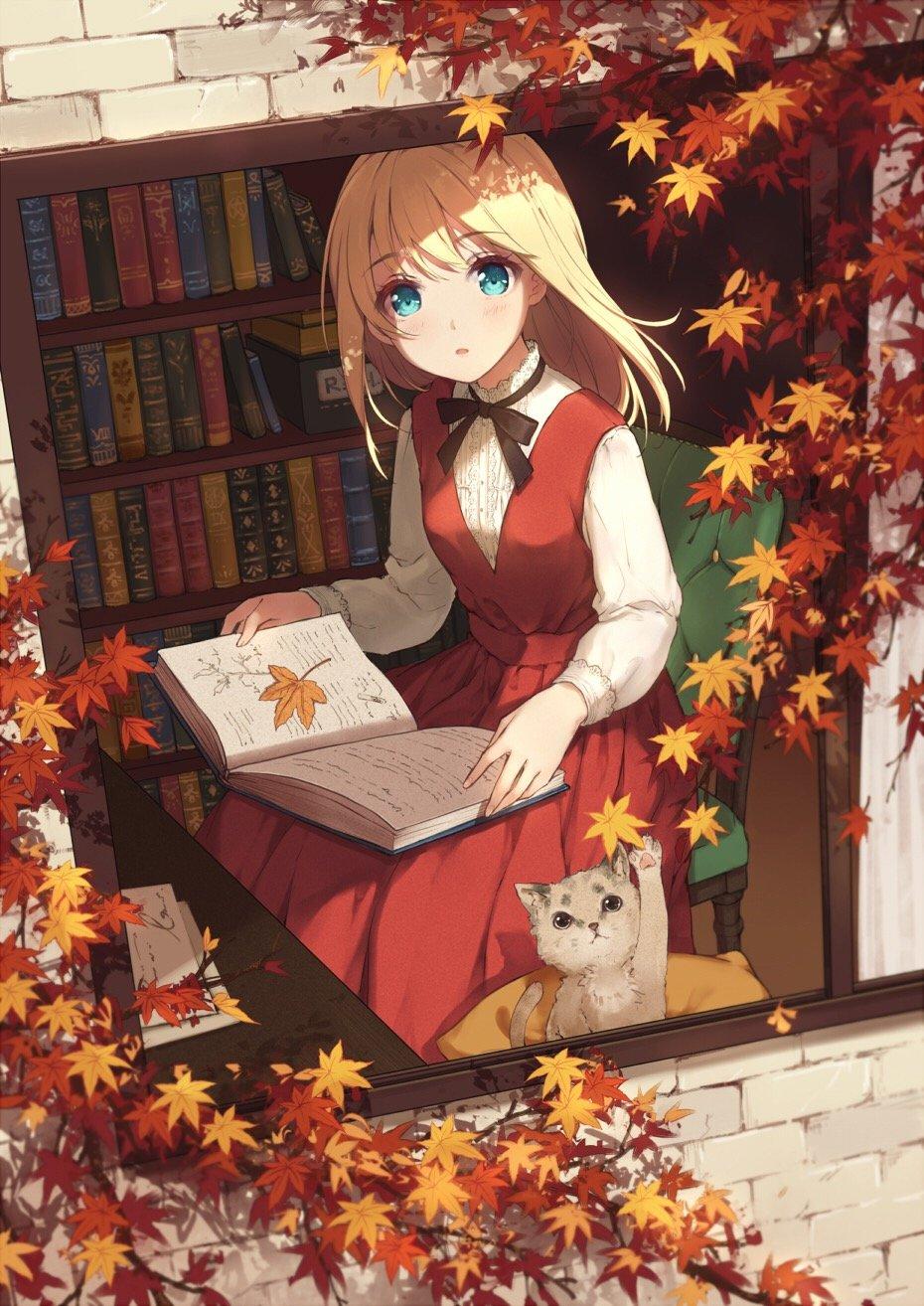 Аниме картинки осень девушка, книжки днем