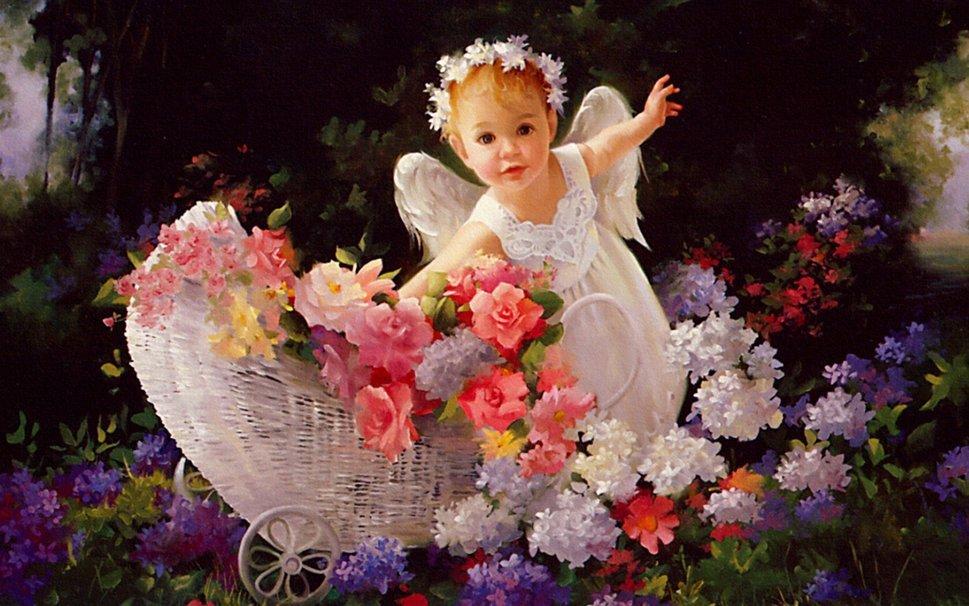 Открытки цветы и ангел, красивые