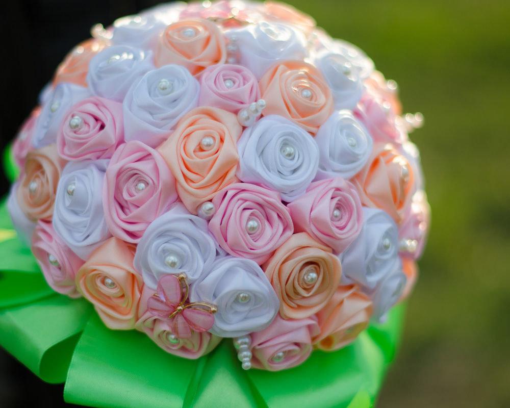 Свадебные букеты из ленточек фото, букет французских роз