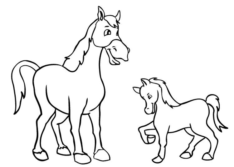 Картинки лошадей для срисовки легкие детям