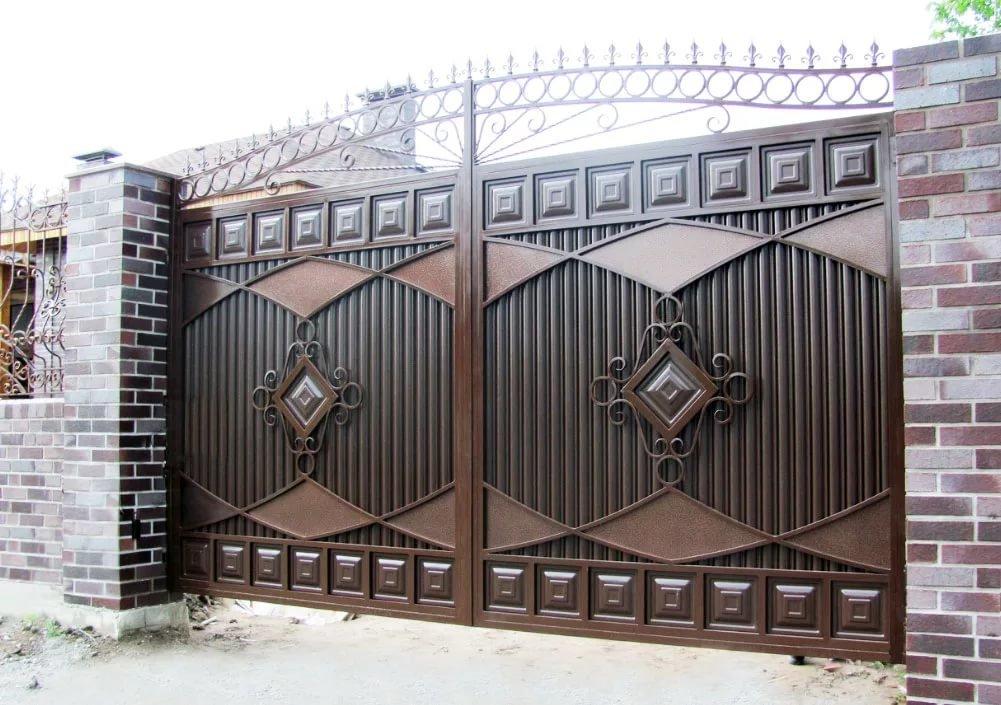 только фото ворот из металла омбре флоком выглядит