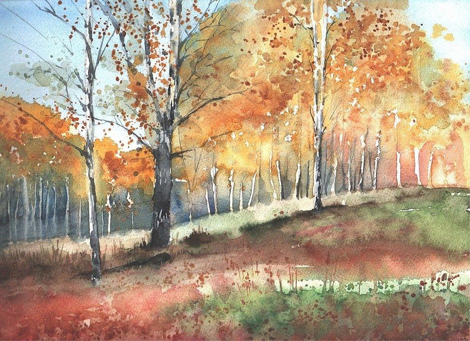 Осень картинки для рисования акварелью