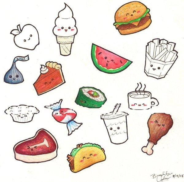 Злость, прикольные рисунки карандашом для срисовки легкие еда