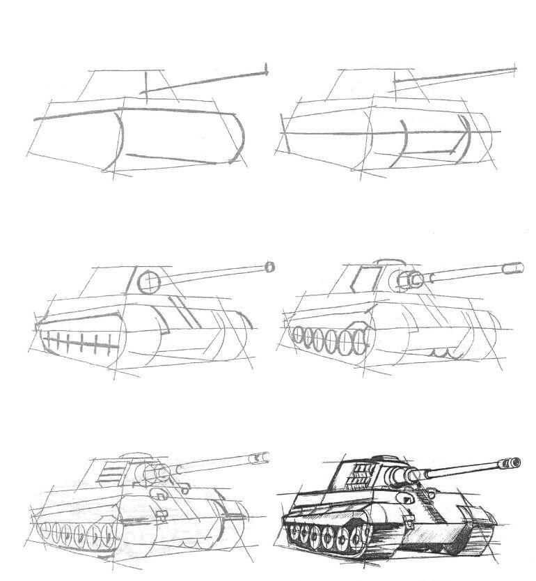 Танк тигр рисунки карандашом