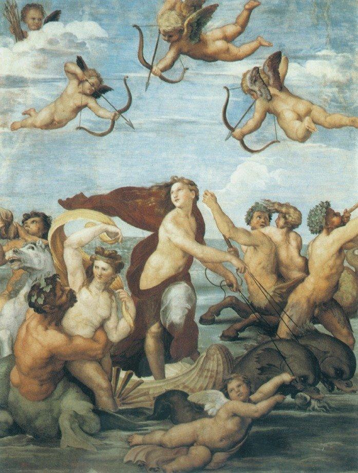 Рафаэль. «Триумф Галатеи». Фреска Виллы Фарнезина в Риме. Ок. 1512 или 1514