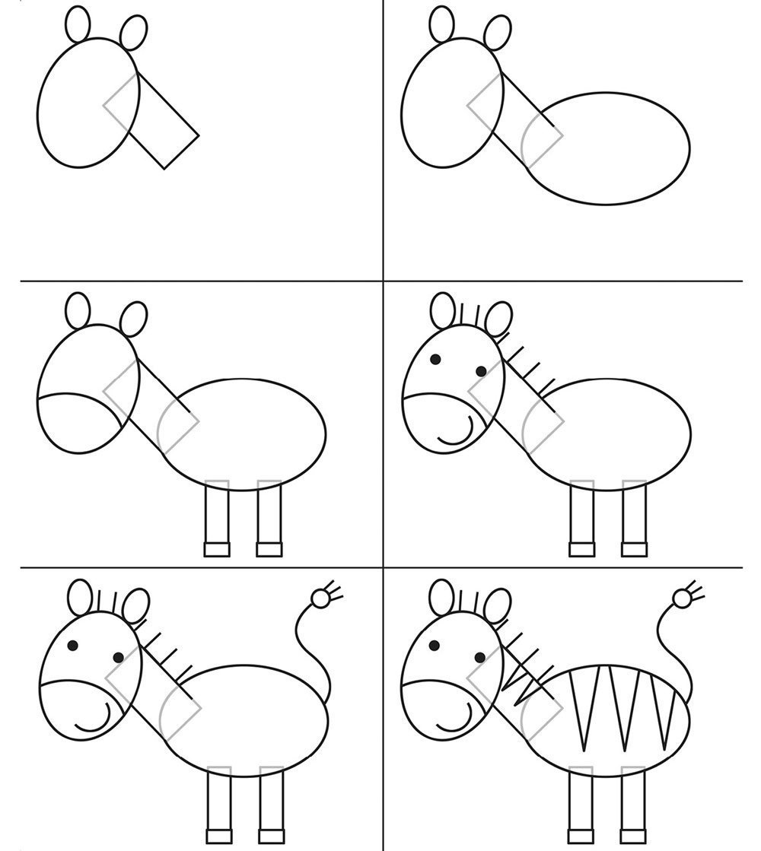 рисунки животных пошагово
