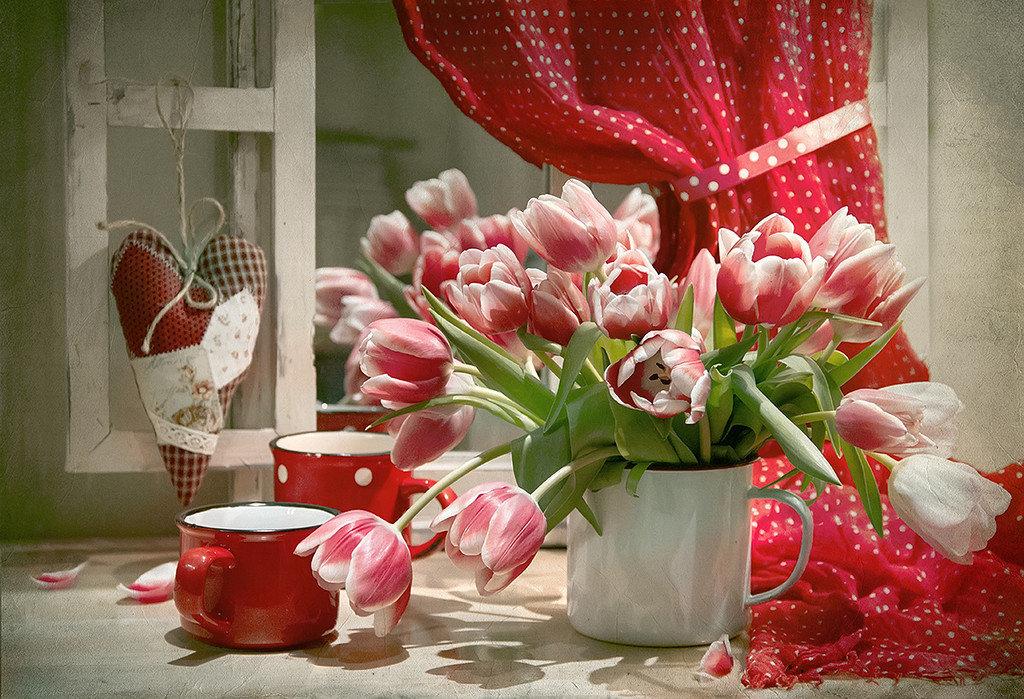 Фото доброе утро с тюльпанами