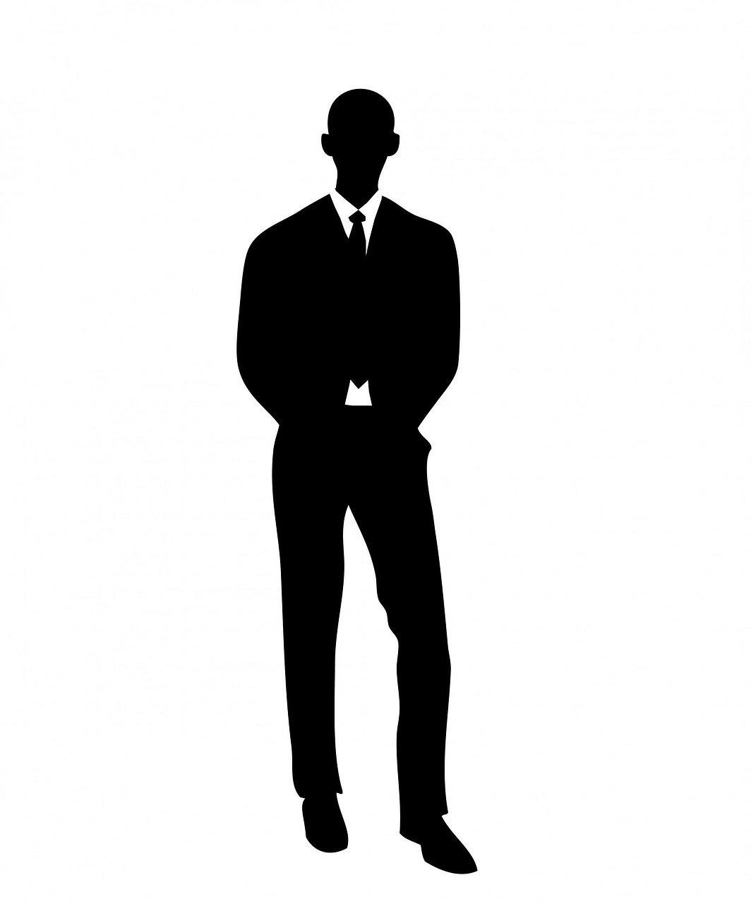 standing businessman silhouette cartoon royalty free - HD1596×1920