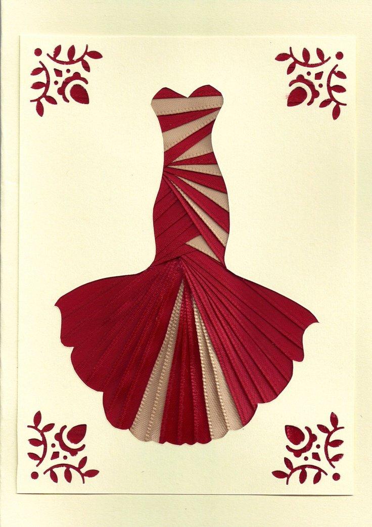 Для, как сделать платье из ленты на открытке