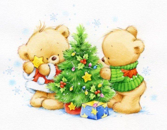 Открытки с медвежонком новый год, лет свадьбы мужу