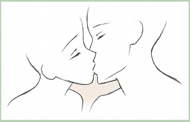 карандашом поцелуй в шею рисунки