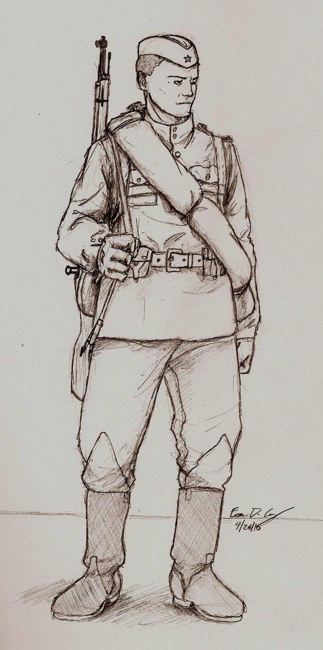 Русский солдат рисунки