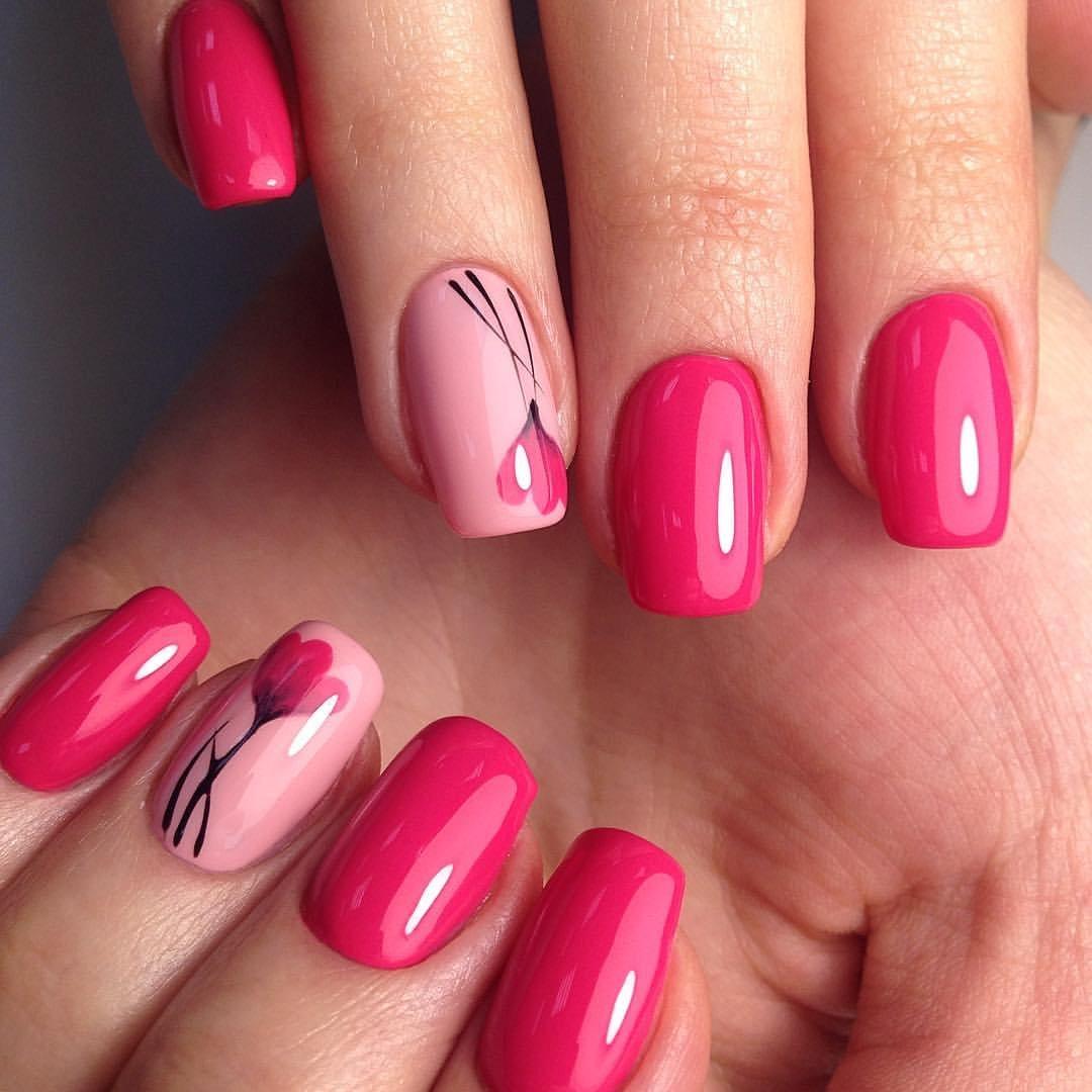 Малиновые Ногти Фото