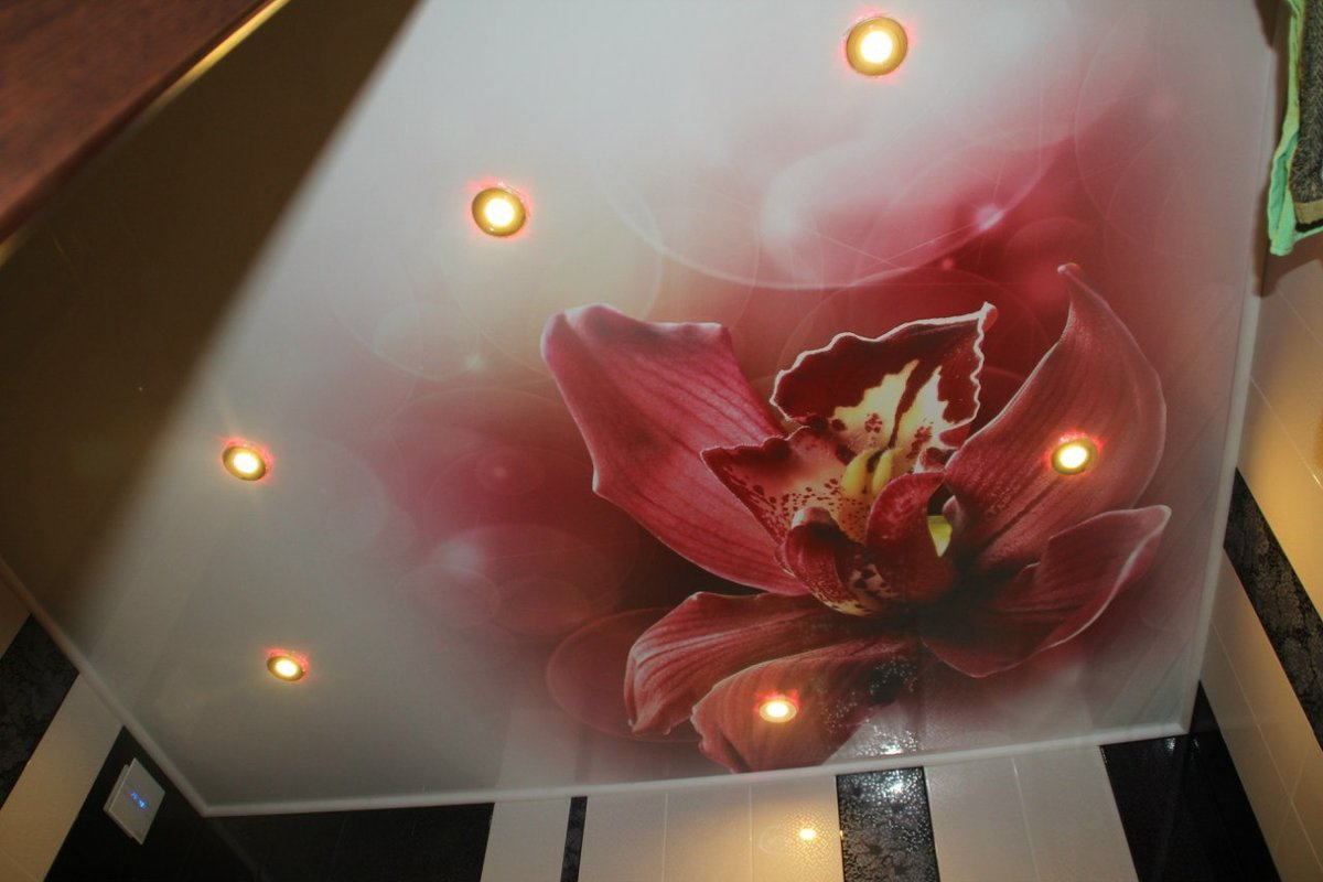 брак фотопечати на натяжном потолке тесто наполнителем