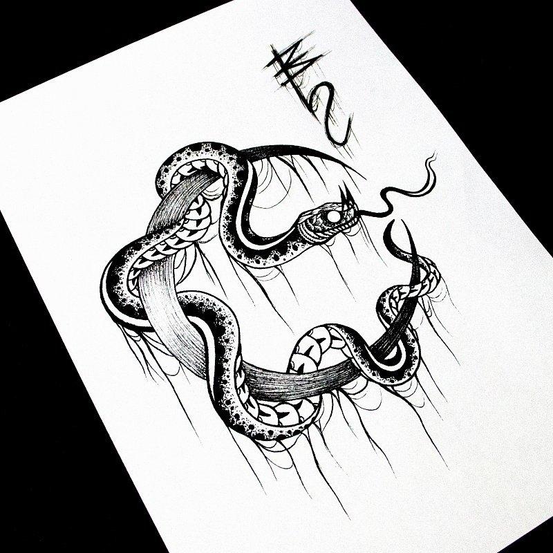 Картинки эскизы татуировок змей этого образа