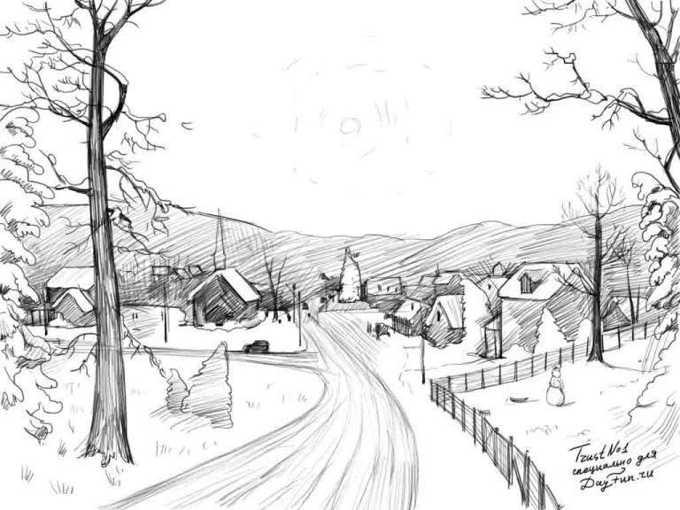 Родителям, как нарисовать красивую картинку карандашом легко о зиме