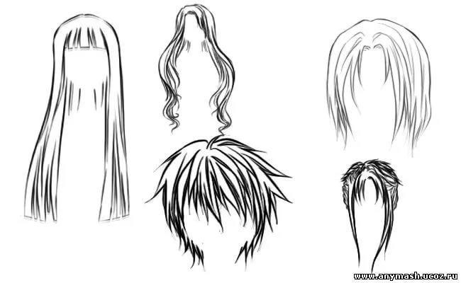 Картинки аниме нарисованные карандашом волосы