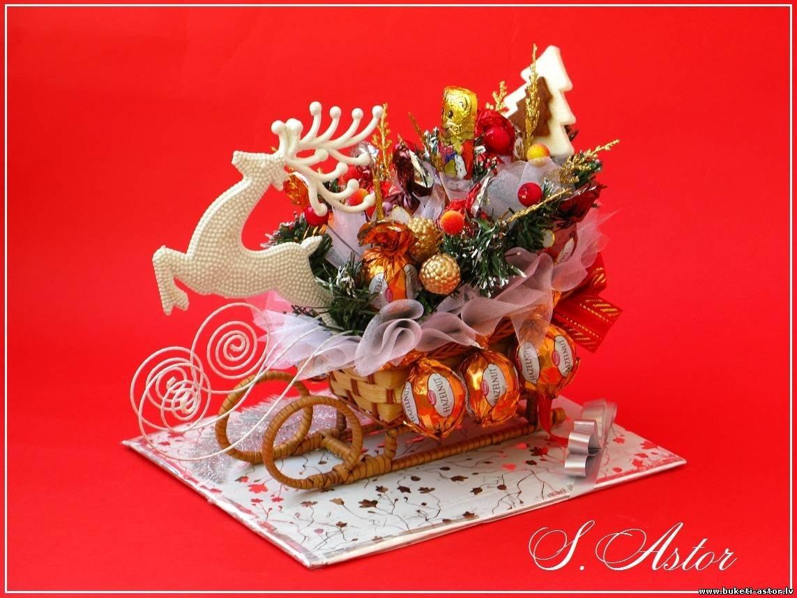 санки из конфет своими руками пошаговое фото представлены