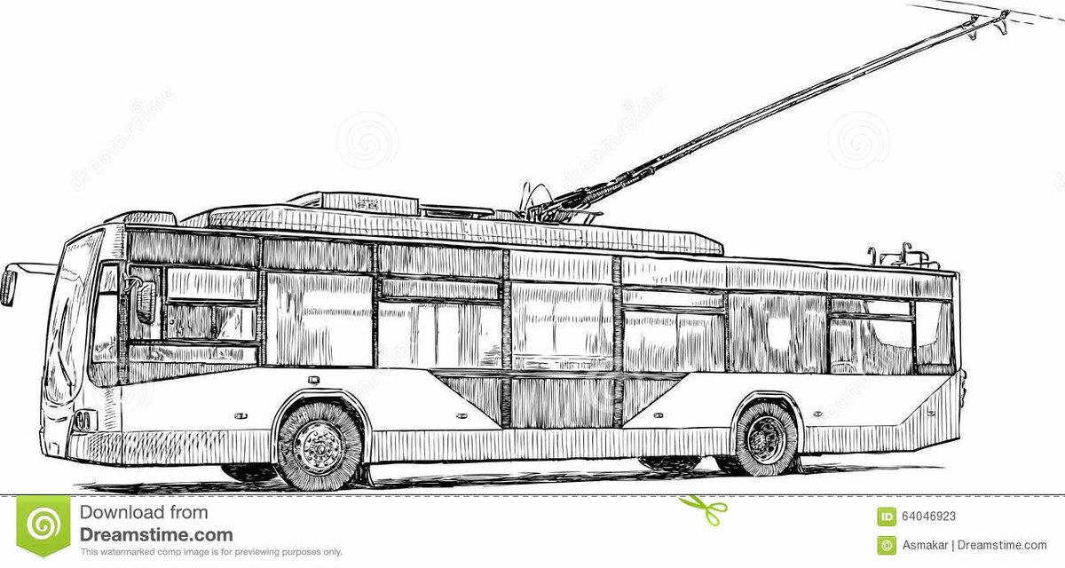 Картинка троллейбуса для детей раскраска