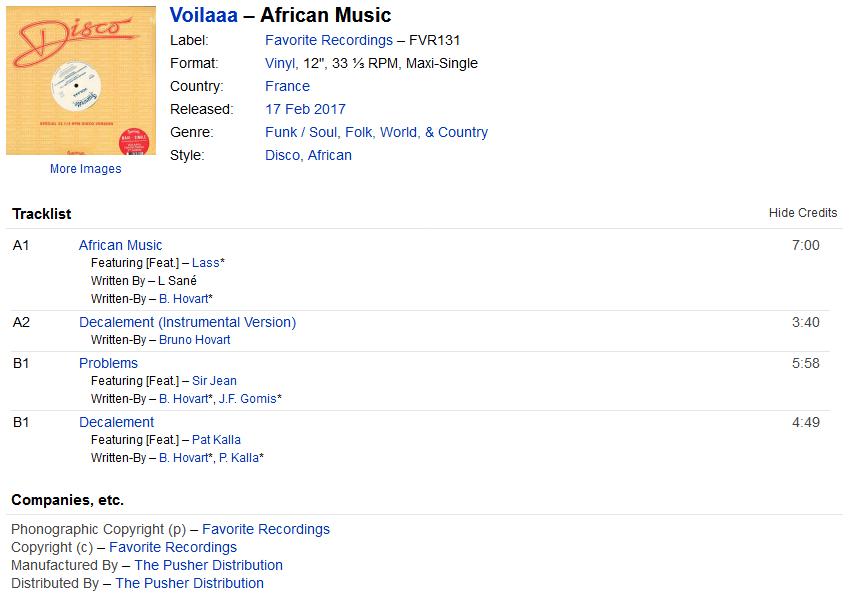 Voilaaa - African Music (Vinyl) at Discogs S1200