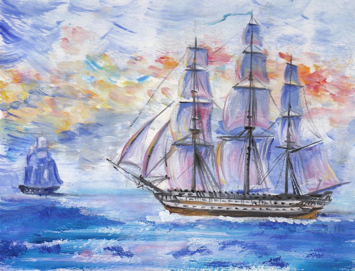Поздравления, картинки с кораблями и морем для срисовки