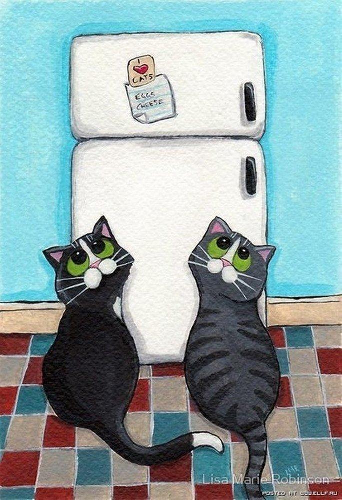 Открыток, рисунки прикольных котов и кошек