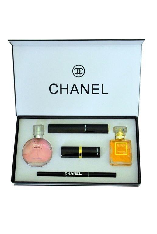 18f883ad41f7 Набор 5 в 1 от Chanel. Подарочный набор парфюм косметика,3в1 купить духи  Перейти