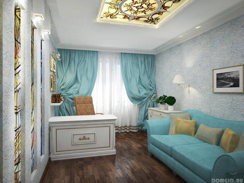 бирюзовый диван для стильного домашнего кабинета