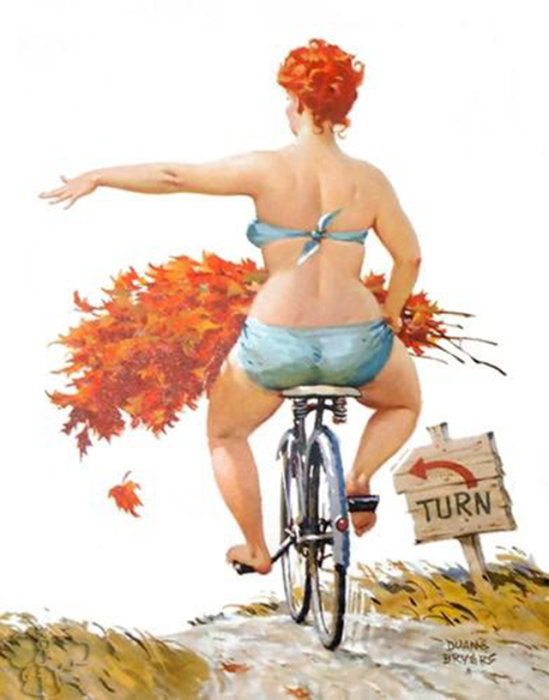 Художник Duane Bryers - Веселая Хильда Активная толстушка.  Атипичная королева пин-апа: позитивная и рыжеволосая толстушка Хильда  Чувственная, немного неуклюжая, но при этом абсолютно не стесняющаяся своей фигуры – такая она, героиня иллюстраций в стиле пин-ап, созданных Duane Bryers. Хильда, именно так зовут пышную барышню с картинок, - одна из немногих атипичных пин-ап королев, которая украшала страницы американских календарей в середине прошлого века. Итак, знакомьтесь с очаровательной Хильдой.  Источник: http://www.kulturologia.ru/blogs/140316/28768/
